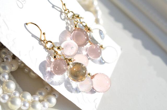 Champagne pink gold ballアシンメトリーピアス&イヤリングの画像1枚目