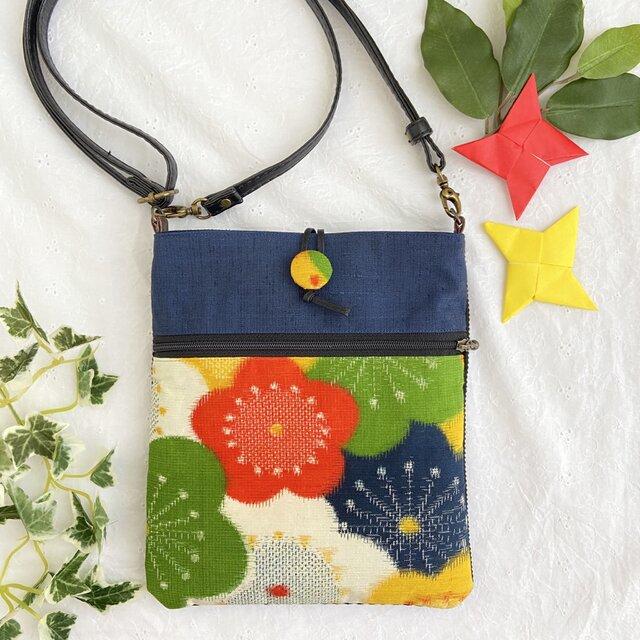 着物リメイク・サコッシュ。紬の花柄 ポシェットの画像1枚目