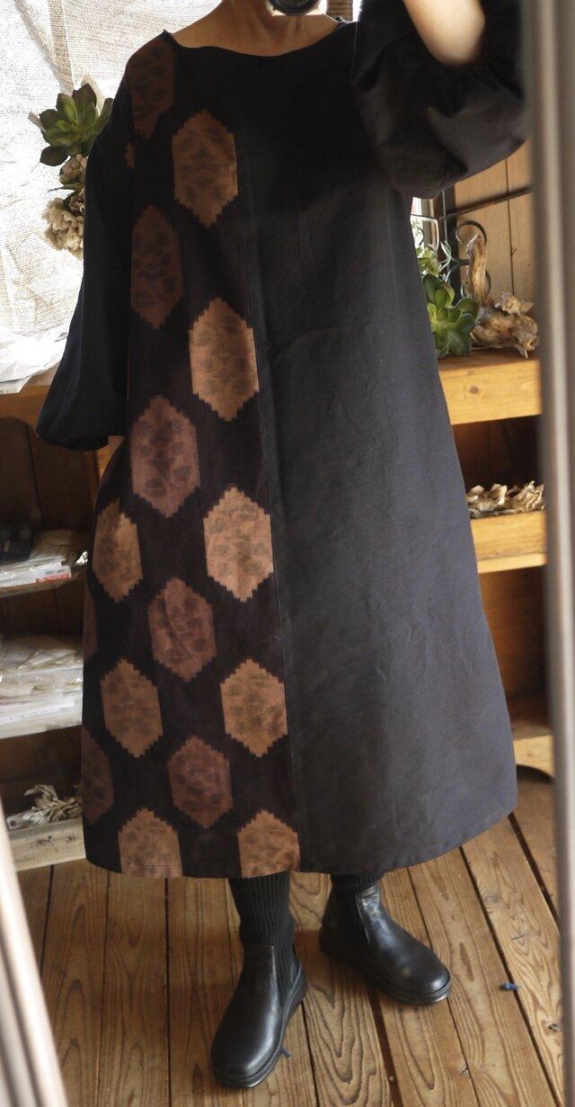 久留米絣バルーン袖ワンピースの画像1枚目