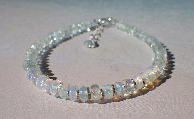 *sv925* Opal & Sea Bracelet プレシャスオパールとアクアマリンの画像1枚目