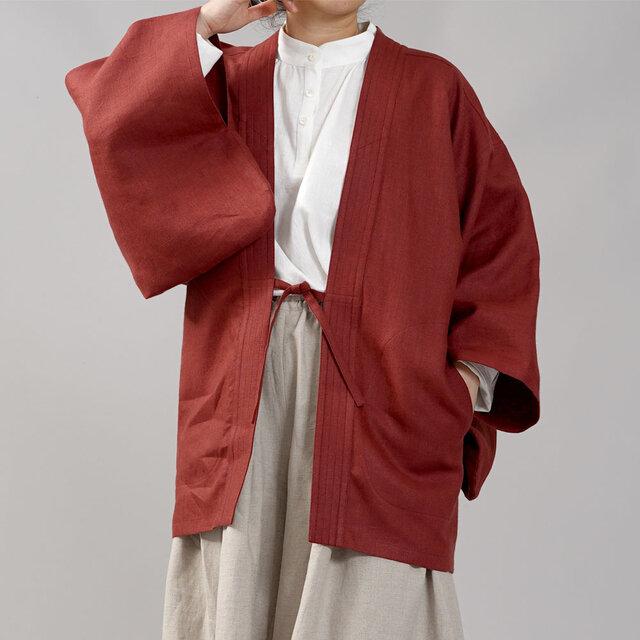 【wafu】中厚リネン羽織 男女兼用 和装 和服 リネン着物 kimono/蘇芳(すおう) h037h-suh2の画像1枚目