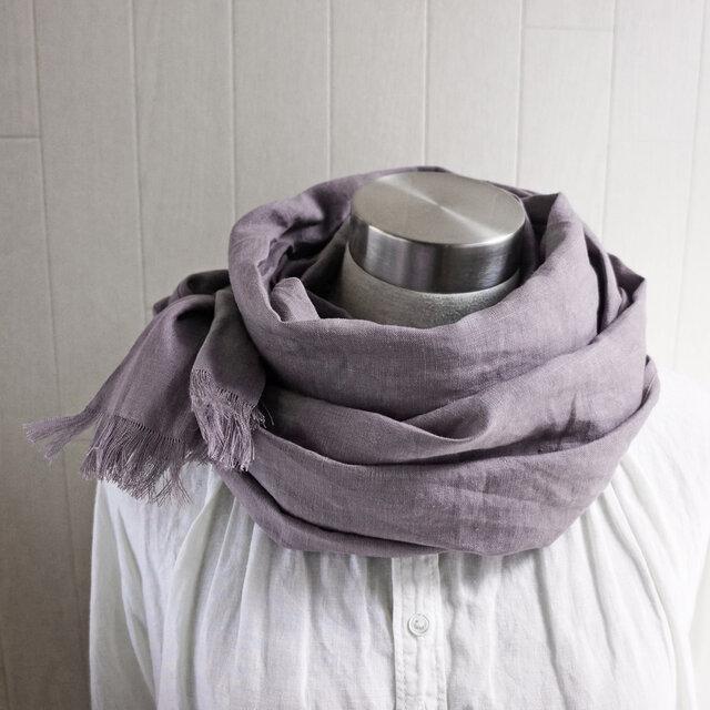 秋冬 フレンチ リネンのストール グレイッシュモーブピンクの画像1枚目