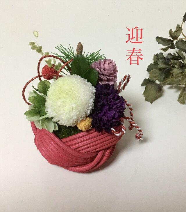 苔玉とプリザ 小さなお正月飾り の画像1枚目
