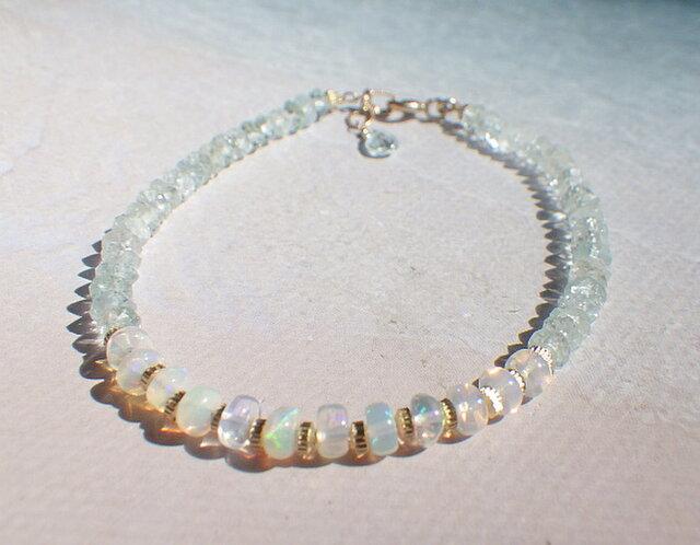 *14Kgf* Opal & Sea Bracelet プレシャスオパールとアクアマリンの画像1枚目