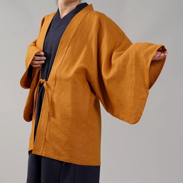 【wafu】中厚リネン羽織 男女兼用 和装 和服 リネン着物 kimono/山吹色 h037h-ybk2の画像1枚目