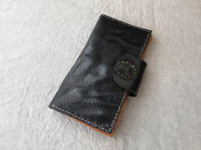 simple wallet オイルワックスレザー ブラックの画像1枚目