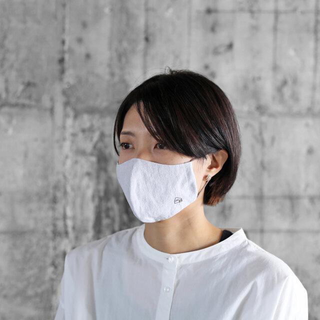 HUISマスク(コードレーントップ糸グレー&コットンリネン)【ユニセックス】の画像1枚目
