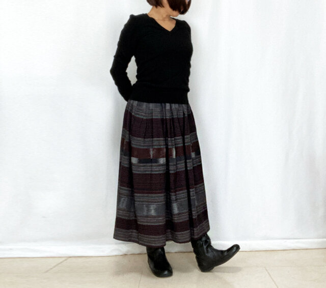 手織り綿絣ロングスカート、焦げ茶Xグレー、オールシーズンの画像1枚目