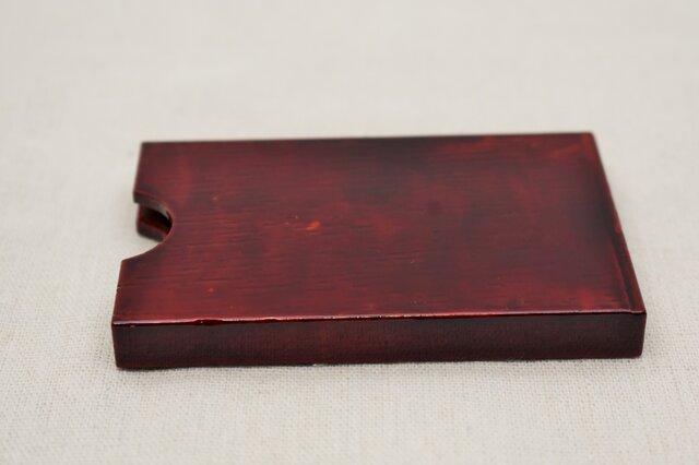 名刺入れ板バネ式 赤漆溜塗りの画像1枚目