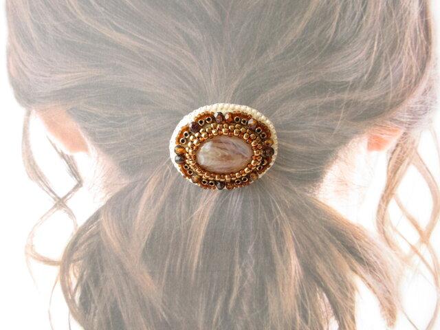 Hair accessory ヘアゴム カボション  ビーズ刺繍(K0957)の画像1枚目