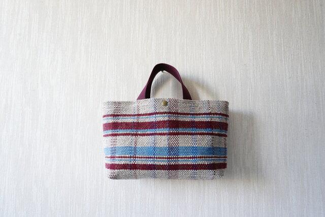 裂き織りのバッグ Mサイズ横長 格子の画像1枚目