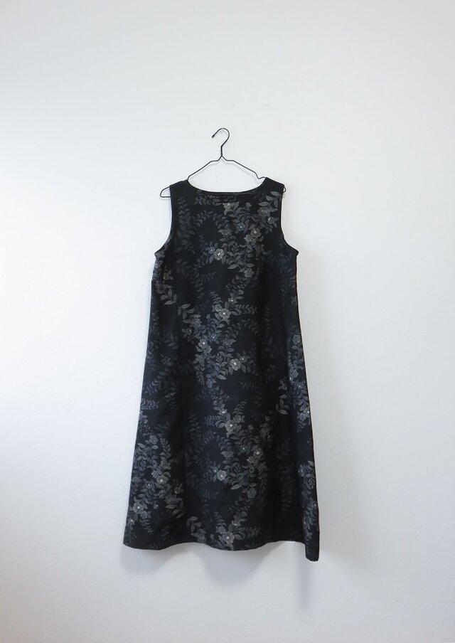 Y様ご予約品*アンティーク着物*花模様手織り紬のワンピース(Lサイズ)の画像1枚目