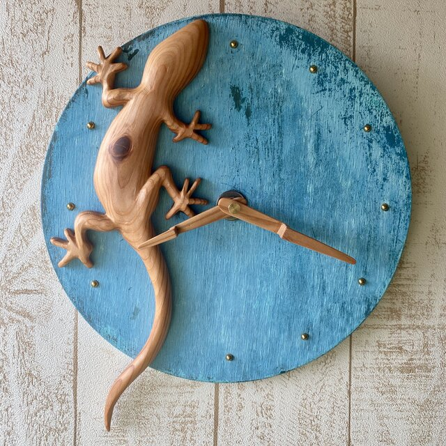 gecko wall clock Yoshino-sugiの画像1枚目