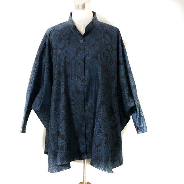 【裏付き】手織り藍大島 ポンチョ風コート 裏付き【重ね亀甲文】の画像1枚目