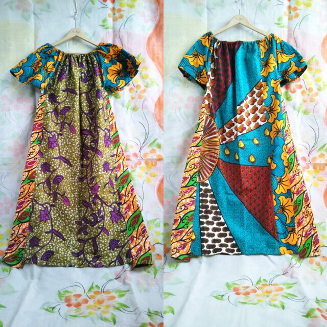 アフリカ布ワンピースの画像1枚目