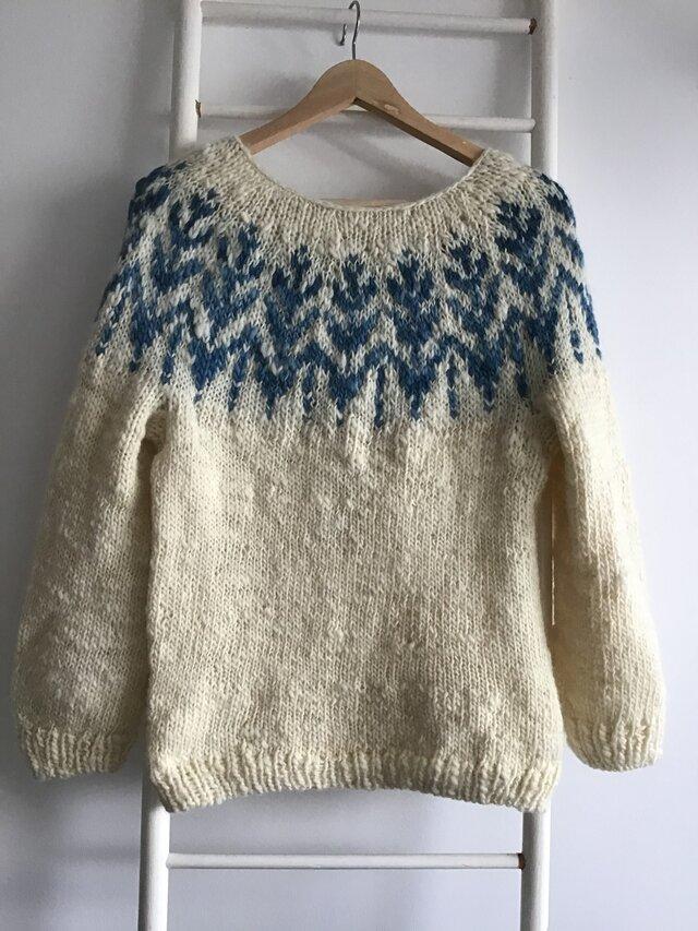 手紡ぎインディゴ染め 手編みセーターの画像1枚目