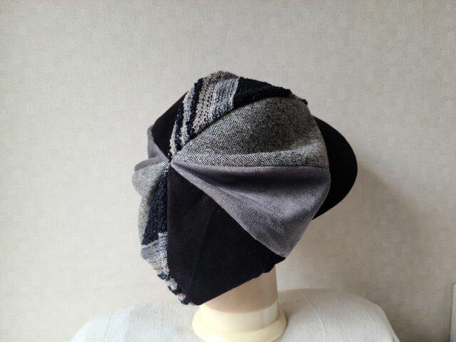 魅せる帽子☆ふんわり♪大きめグラデーションキャスケット~ライトモノトーンの画像1枚目