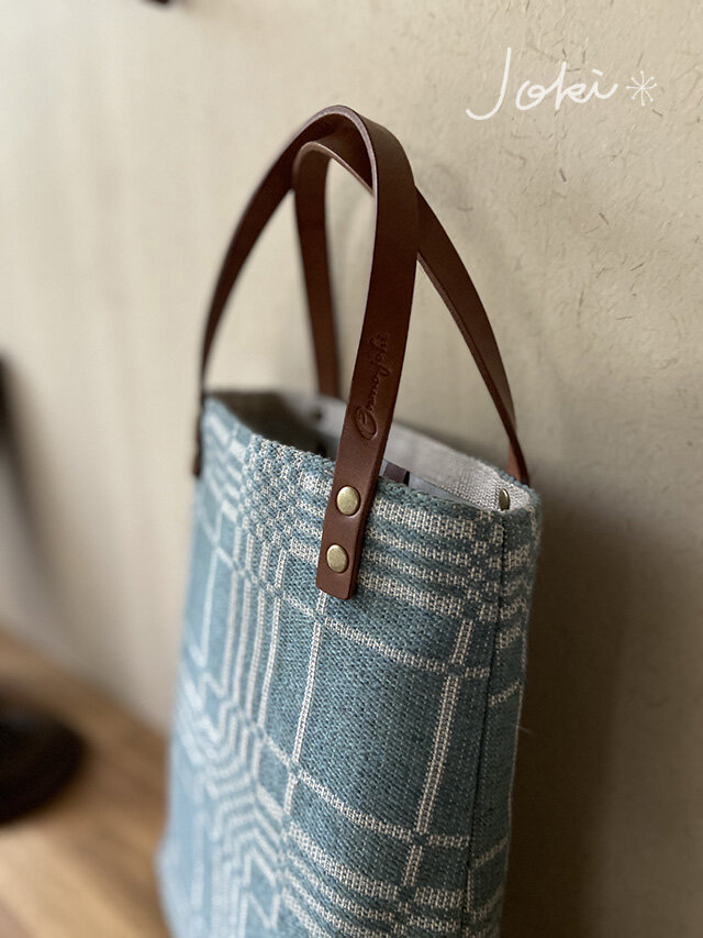 bag[手織りAライン手提げバッグ]エメラルドの画像1枚目