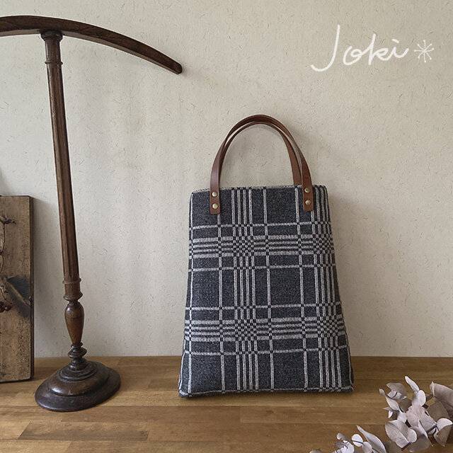 bag[手織りAライン手提げバッグ]チャコールグレーの画像1枚目
