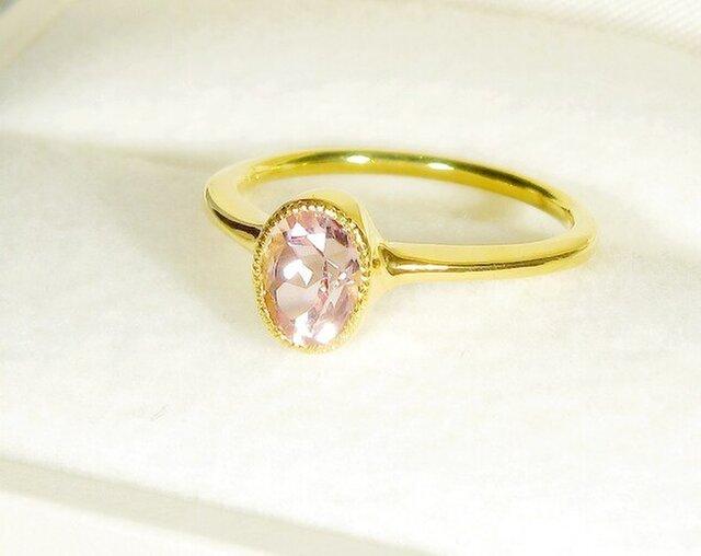 1.09ctクンツァイトとSV925の指輪(リングサイズ:11.5号、サイズ変更可、天然石、K18の厚メッキ、ミル打ち)の画像1枚目