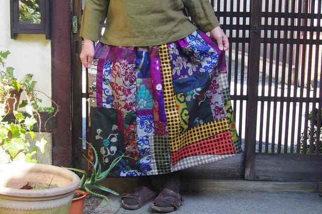 K様ご予約品☆大人のお出かけスカート☆銘仙パッチでレトロモダン♪80㎝丈の画像1枚目