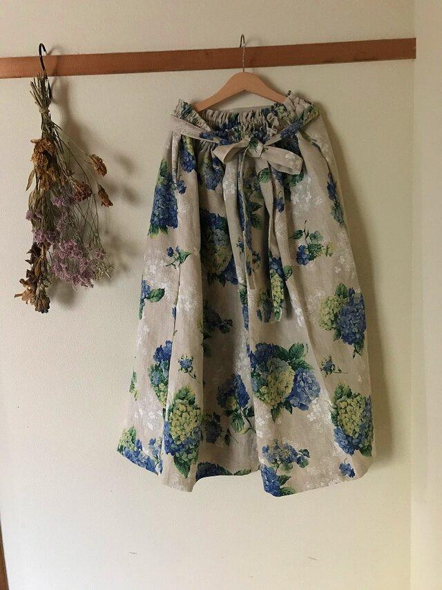 リネン100%紫陽花 リボンベルト あなたサイズのギャザースカートの画像1枚目