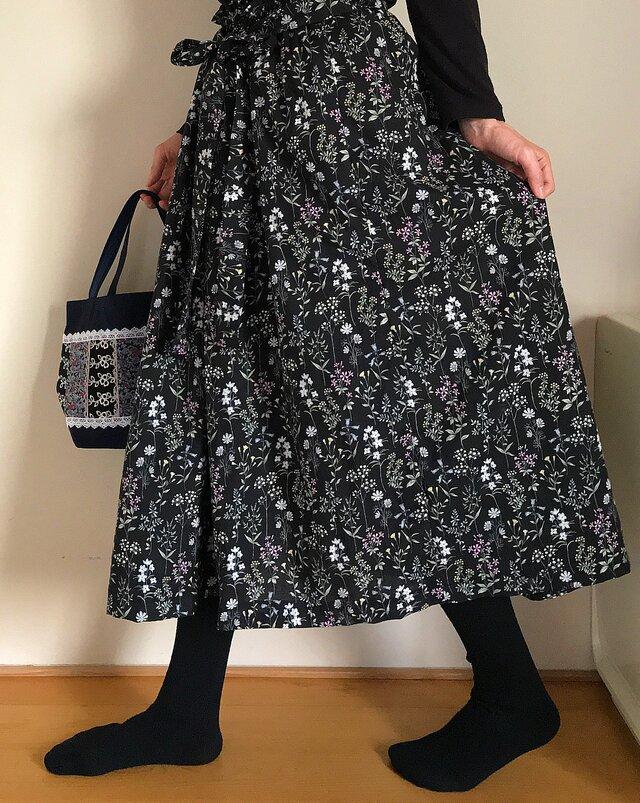 綿100% 裏地付き リボンベルト あなたサイズのギャザースカートの画像1枚目