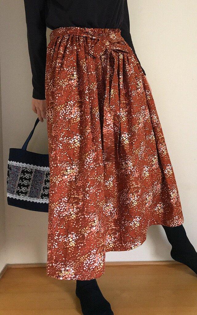 KOKKA生地 リボンベルト あなたサイズのギャザースカートの画像1枚目