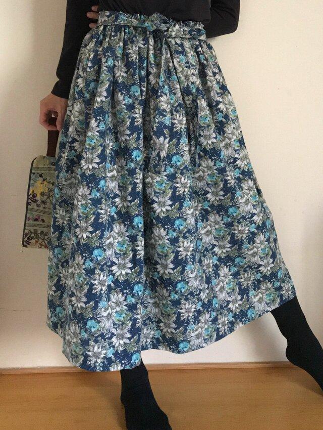 コットンリネン リボンベルト あなたサイズのギャザースカートの画像1枚目
