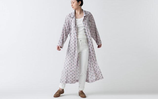 木間服装製作 / longshirt flower / unisex 1size / ロングシャツ・シャツワンピースの画像1枚目