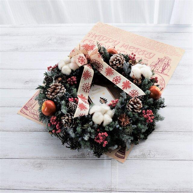 ウッドタグが選べる!!静かな森のクリスマスリース(送料込み・但し定形外郵便のみ)の画像1枚目