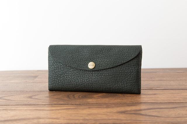 日本製牛革のコンパクトな長財布SOFT / グリーンの画像1枚目