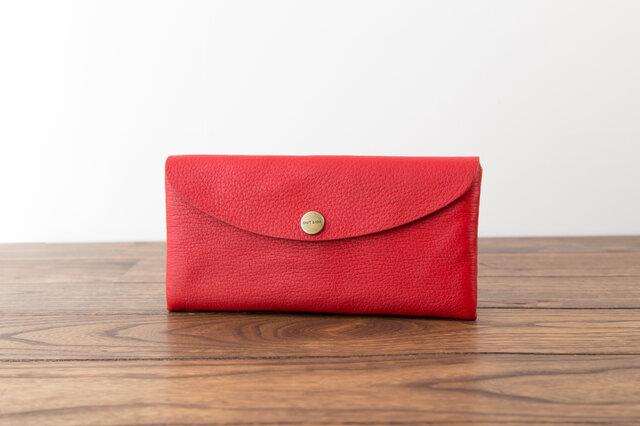 日本製牛革のコンパクトな長財布SOFT / レッドの画像1枚目