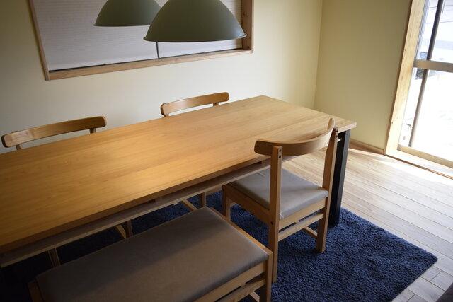 ヒノキ 鉄脚フレーム 棚付 ダイニングテーブル W140 ウレタン塗装の画像1枚目