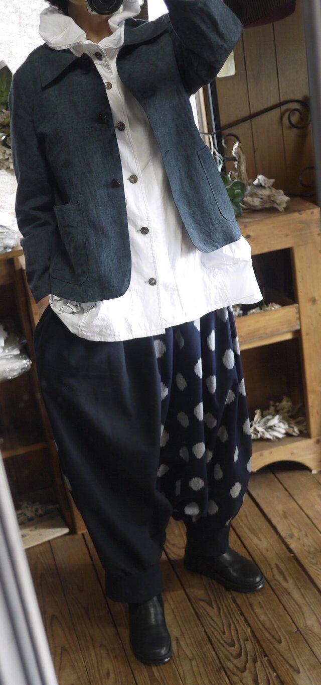 久留米絣2種からサルエルパンツの画像1枚目
