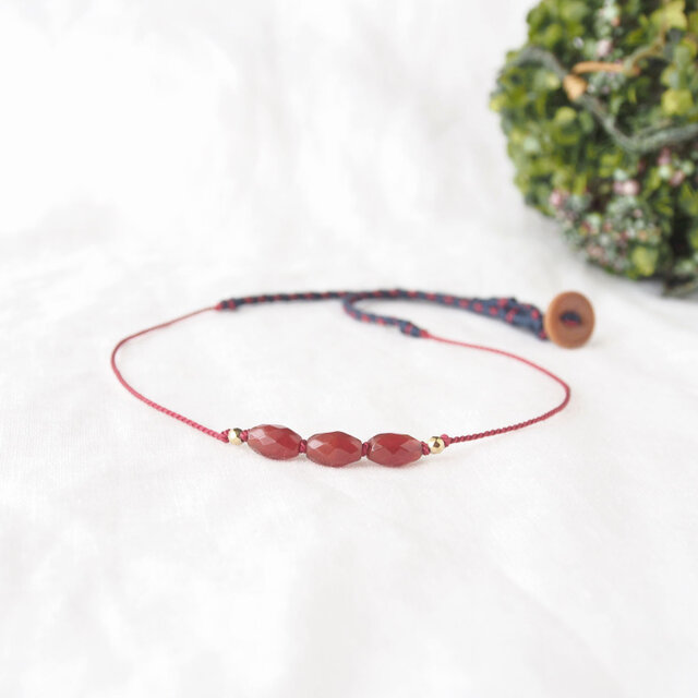 【Sale】Red Rice Short Necklace(レッドアゲート)の画像1枚目