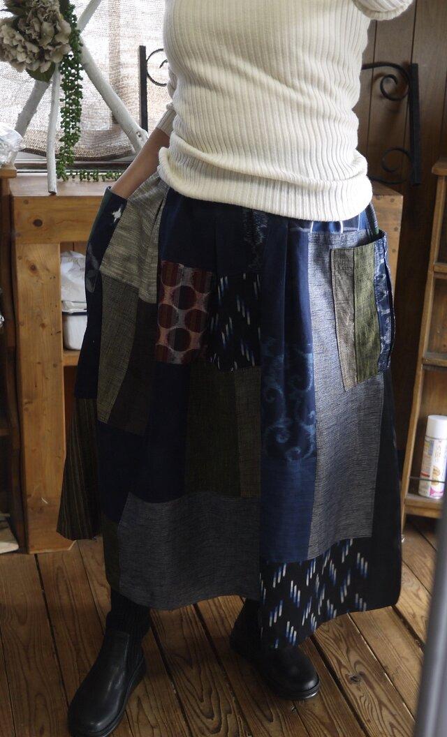 久留米絣反物からパッチギャザースカートの画像1枚目