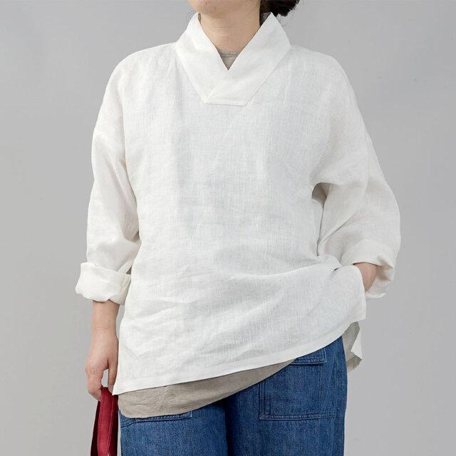 【wafu】※袖長め 中厚 リネン 着物襟 ブラウス トップス 禅 チュニック/ホワイト t010d-wht2の画像1枚目