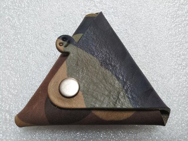 【ご予約品・カモフラ】ちょっと突き出た三角コインケース(イニシャル刻印サービス)new!の画像1枚目