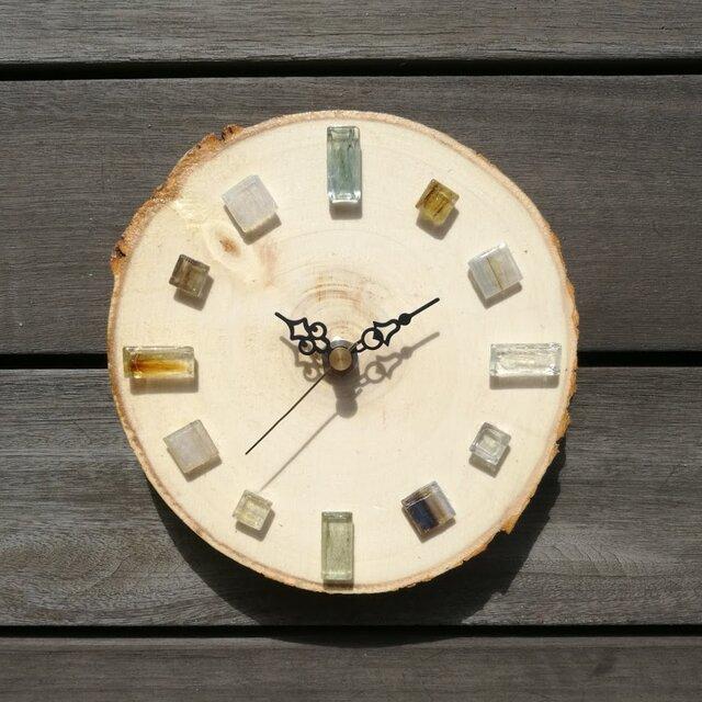 白樺とガラスタイルの掛け時計 1010 掛時計の画像1枚目