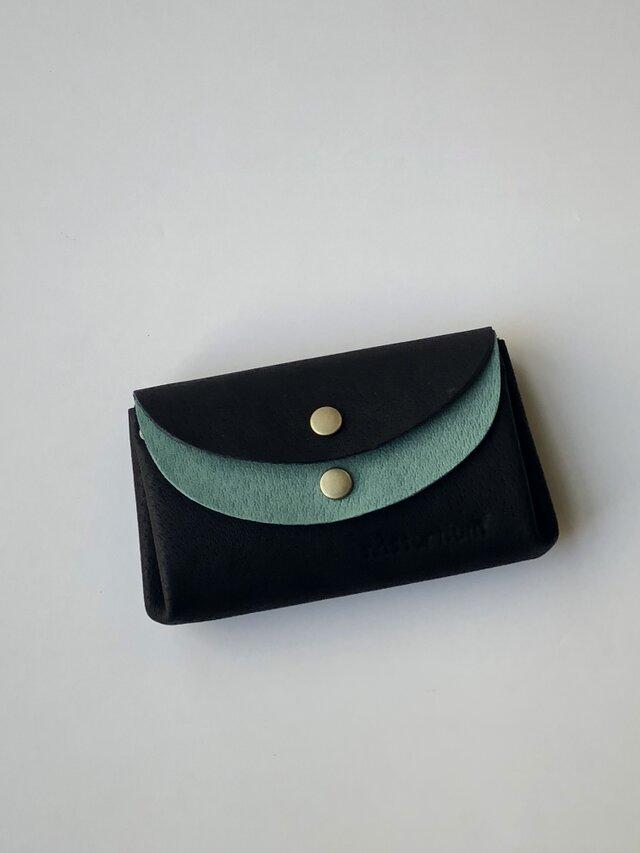 ピッグスキンの小さなお財布 黒×ターコイズグリーンの画像1枚目