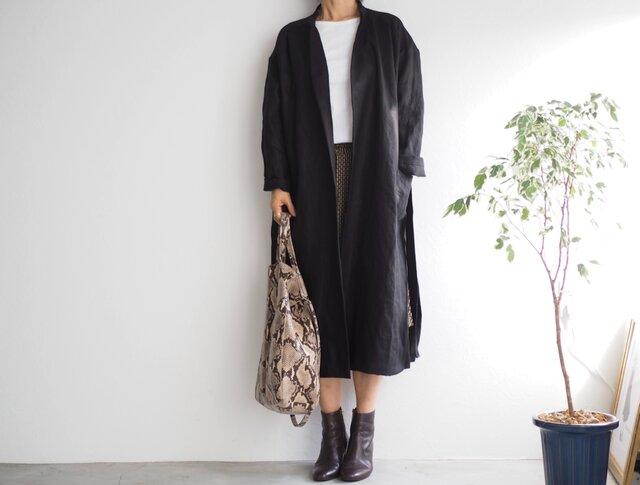 リネンのコート ブラックの画像1枚目