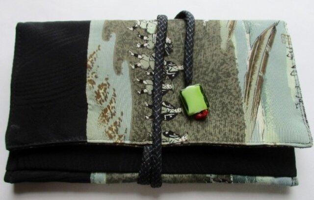 5230 黒の羽織と長襦袢で作った和風財布・ポーチ #送料無料の画像1枚目