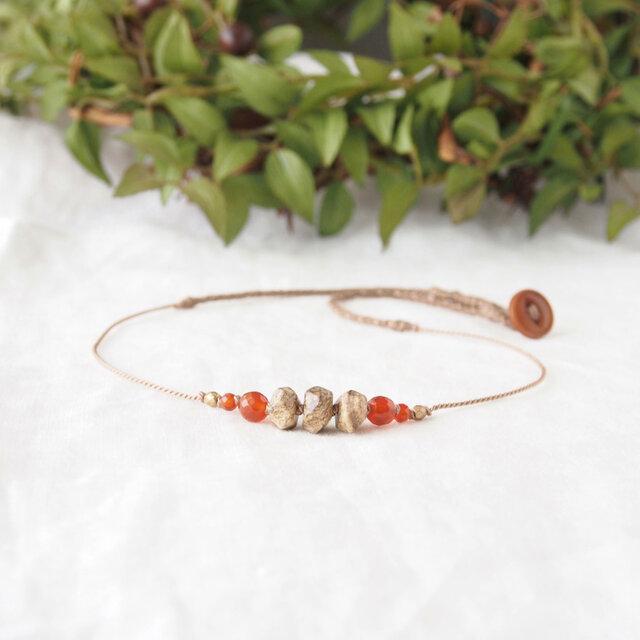 【Sale】Earth Short Necklace-Orange-の画像1枚目