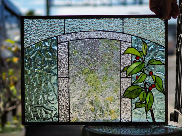 「さくらんぼ」 ステンドグラス・パネルの画像1枚目
