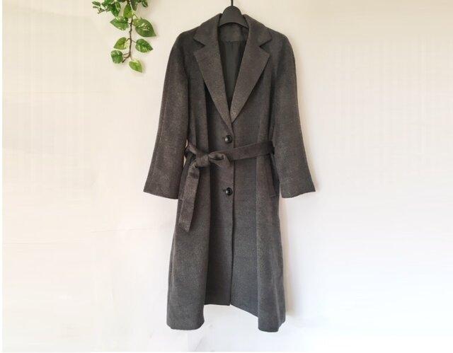 ★冬新作★【L】上質ウール混生地シンプルなポケット付きロングコート♪の画像1枚目