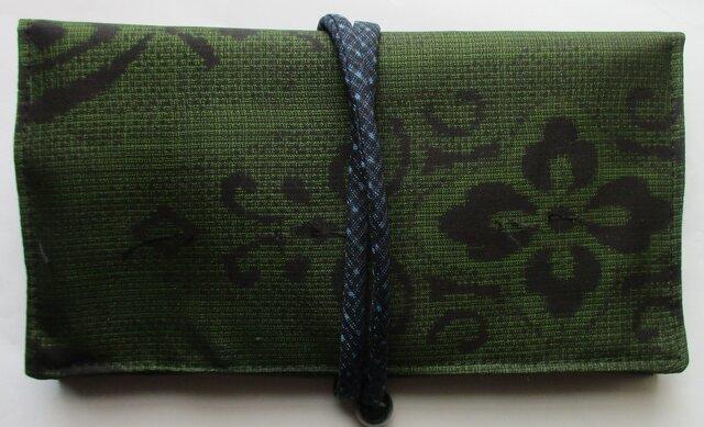 5234 色大島紬で作った和風財布・ポーチ #送料無料の画像1枚目