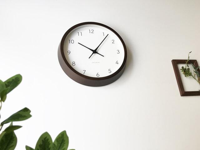 KATOMOKU muku round wall clock 7 km-60BRC ブラウン 電波時計の画像1枚目