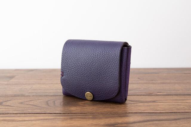 イタリア製牛革の二つ折り財布5 / パープル※受注製作の画像1枚目