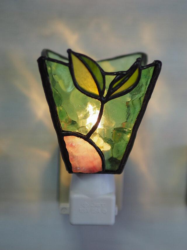 「おやすみランプ・双葉」ステンドグラスランプ フットランプの画像1枚目